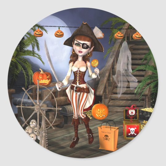 Cute Halloween Pirate Girl Stickers