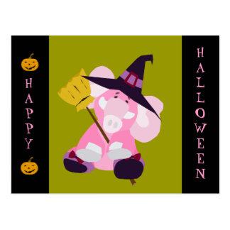 Cute Halloween Postcard: Elephant in Wizard Costum