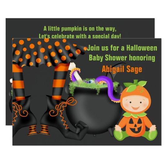 Cute Halloween Pumpkin Baby Shower Neutral Invite