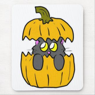 cute halloween pumpkin kitten mouse pad