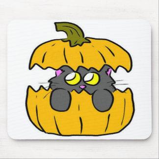cute halloween pumpkin kitten mousepad