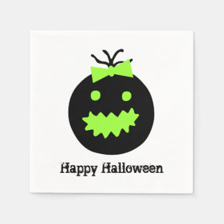 Cute Halloween pumpkin with bow Disposable Napkin