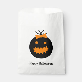 Cute Halloween pumpkin with bow Favour Bags