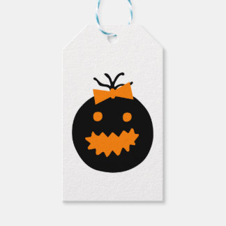 Cute Halloween pumpkin with bow Gift Tags