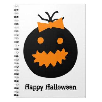 Cute Halloween pumpkin with bow Notebook