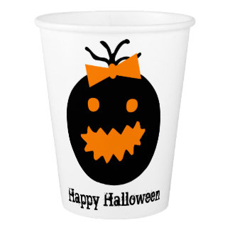 Cute Halloween pumpkin with bow Paper Cup