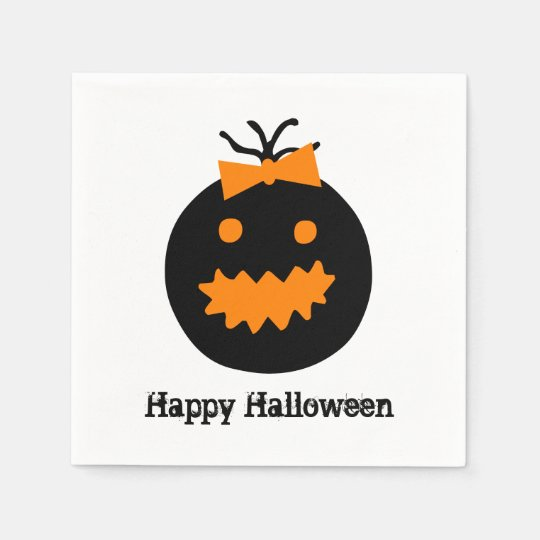 Cute Halloween pumpkin with bow Paper Serviettes