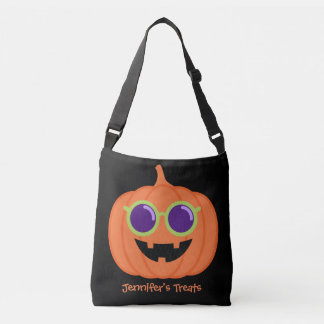 Cute Halloween Pumpkin with Hippie Glasses Crossbody Bag