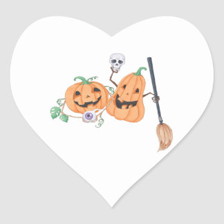 Cute Halloween Pumpkins Heart Sticker