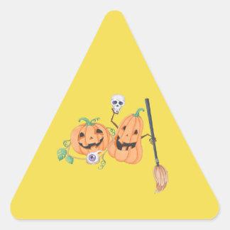 Cute Halloween Pumpkins Triangle Sticker
