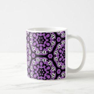 Cute Halloween skull kaleidoscope damask Basic White Mug