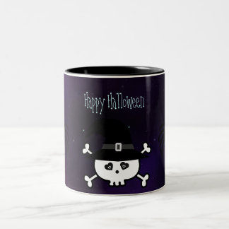 Cute Halloween Skull & Spiders Magical Night Two-Tone Mug