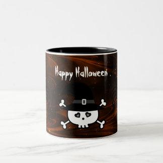 Cute Halloween Skull & Spiders Magical Night Two-Tone Coffee Mug