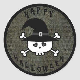 Cute Halloween Skull With Witches Hat Round Sticker