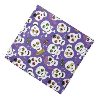 Cute Halloween Skulls on Purple Bandana