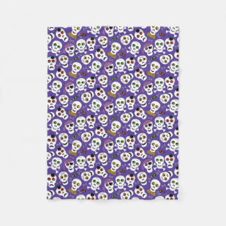 Cute Halloween Skulls on Purple Fleece Blanket