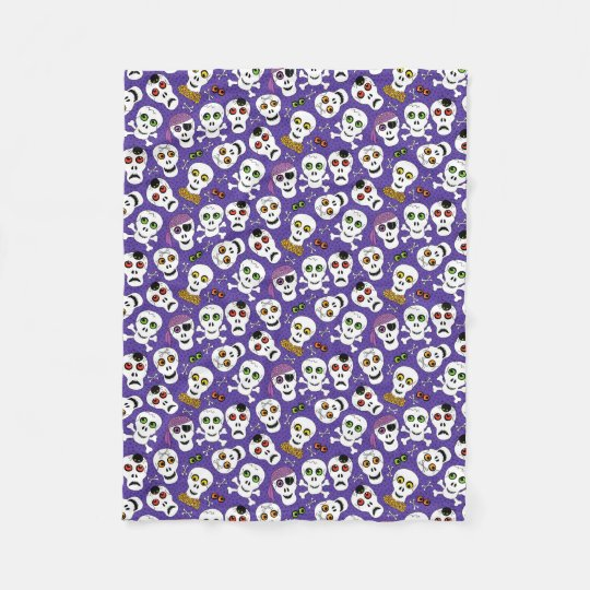 Cute Halloween Skulls on Purple Fleece Blanket