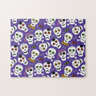 Cute Halloween Skulls on Purple Jigsaw Puzzle