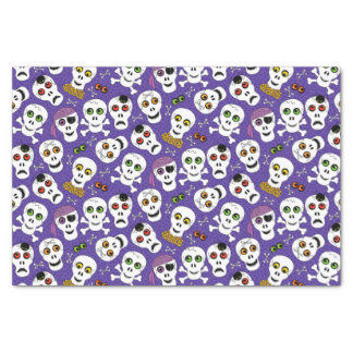 Cute Halloween Skulls on Purple Tissue Paper