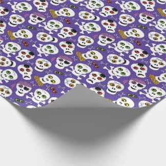 Cute Halloween Skulls on Purple Wrapping Paper