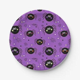 Cute Halloween Spiders Paper Plate