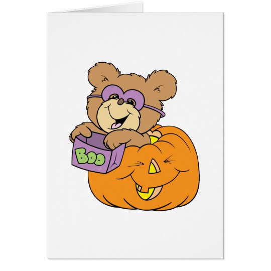 cute halloween teddy bear in pumpkin boo card