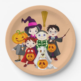 Cute Halloween Trick or Treat Children Paper Plate