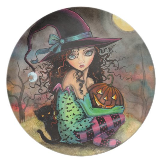 Cute Halloween Witch and Cat Art Plate