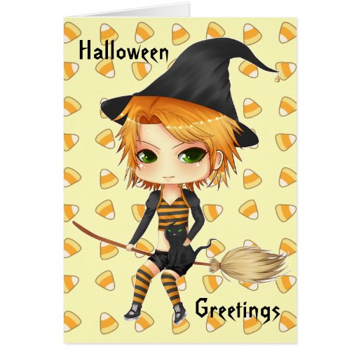 Cute Halloween witch chibi card for your text