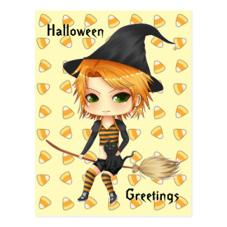 Cute Halloween witch chibi girl post card