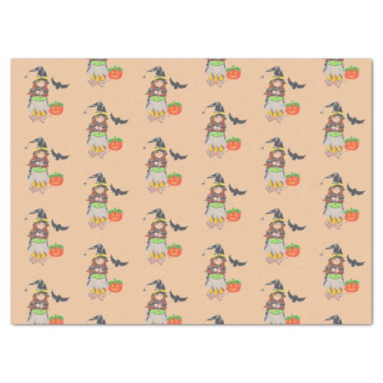 Cute Halloween witch peach tissue paper