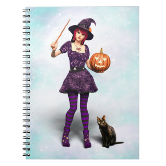 Cute Halloween Witch with Black Cat and Pumpkin Notebook