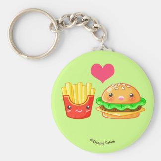 Cute Hamburger & Fries Button Keychain
