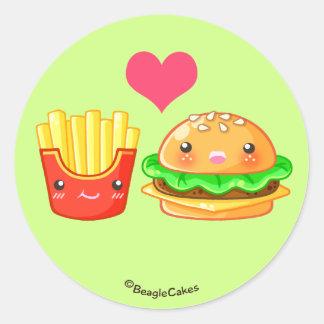 Cute Hamburger & Fries Round Stickers Round Sticker