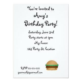 "Cute hamburger 6.5"" x 8.75"" invitation card"