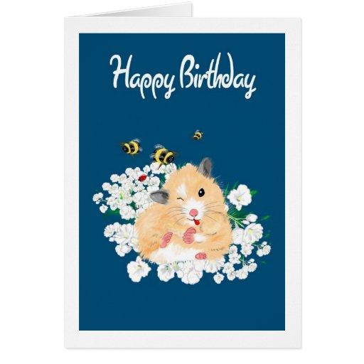 Cute Hamster Birthday Card - Add Own Greeting