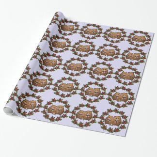 Cute Hamster Couple in Christmas Wreath: Art Wrapping Paper