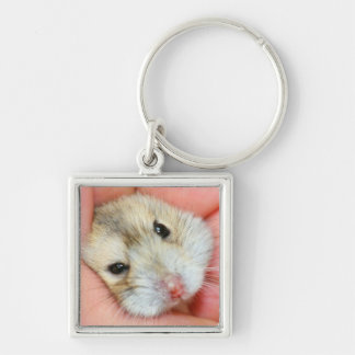Cute Hamster Face 1 Silver-Colored Square Key Ring