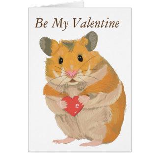 Cute Hamster Holding a Heart Card
