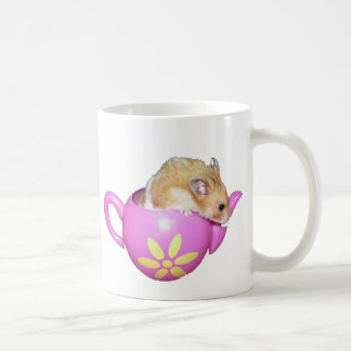 Cute Hamster in a Pink Teapot Photo Basic White Mug