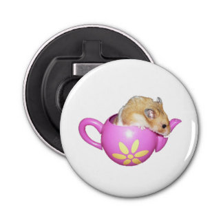 Cute Hamster in a Pink Teapot Photo Bottle Opener