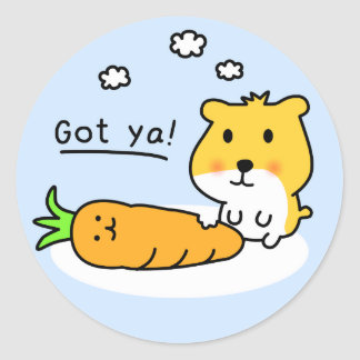 cute hamster is hungry classic round sticker