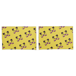 Cute Hamster mouse purple yellow pillowcase