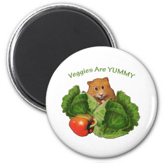 Cute Hamster: Veggies Are Yummy: Health, Nutrition Magnet
