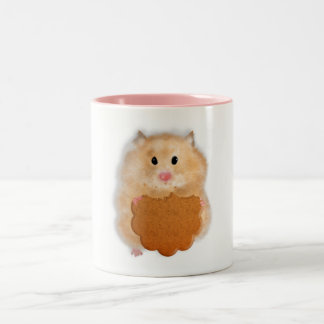 Cute hamster with biscuit Mug, Two-Tone Coffee Mug