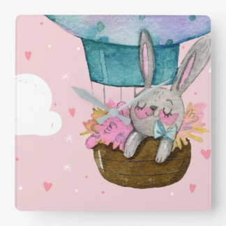Cute hand drawn bunny sleeping inside balloon square wall clock