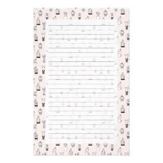 Cute Hand Drawn Cactus Pattern Stationery
