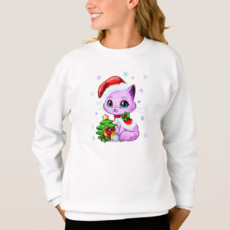 Cute Hand Drawn Christmas Cat Girl's Sweater