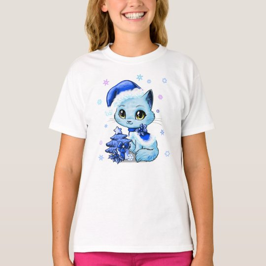 Cute Hand Drawn Christmas Cat Girl's T-shirt