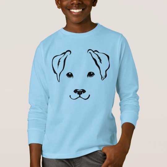 Cute Hand Drawn Dog Boy's Long Sleeve Tee for Kids